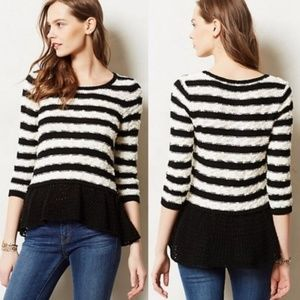 Knitted & Knotted Striped Peplum Sweater Knit S
